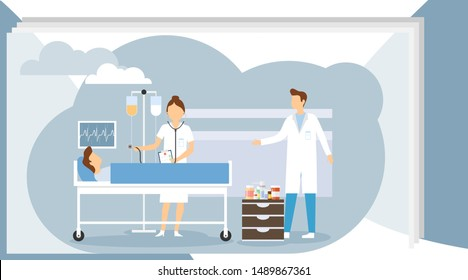 Doctor visiting patient. Man lying bed with dropper intensive therapy ward healthcare concept hospital room interior. Modern medical clinic. The doctor examines the patient.