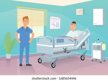 Doctor visits a patient in a hospital room. vector illustration.