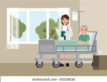 A doctor visits a patient lying on hospital bed. Senior man resting In a Bed. Flat cartoon style vector illustration.