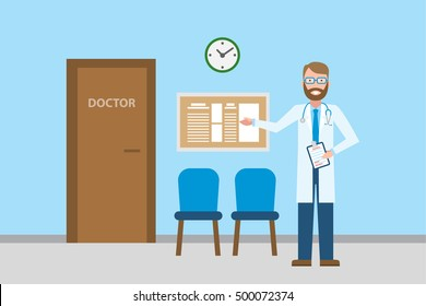 Doctor in waiting room. Handsome smiling man in white standing in waiting room. Hospital interior with chairs and health care information.