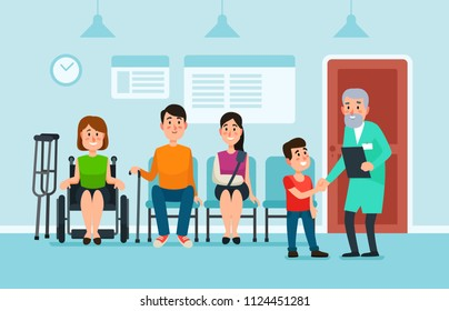 Doctor waiting room. Patients wait doctors and medical help seat on chairs in hospital. Patient man and woman at busy health clinic hall reception wait for doc cartoon colorful vector illustration