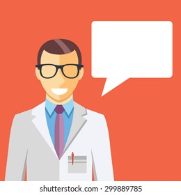 Doctor in white lab coat and speech bubble. Flat design concept vector illustration