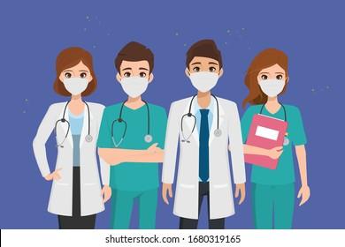 Arzt, der Patienten vor dem Ausbruch von Coronavirus und der Bekämpfung des Coronavirus schützt.