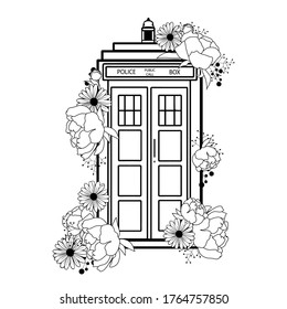 Doctor Who vector illustration blue police call box isolated. Tardis