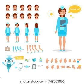 Doctor woman for animation. Poses front, rear, side, three quarter.  Creation set. Collection of emotions. Vector. Cartoon. Isolated art on white background. Flat. Different positions of the hands