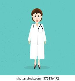 Doctor woman cartoon.