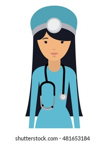 doctor woman and cartoon icon. profession worker and occupation theme. Isolated design. Vector illustration