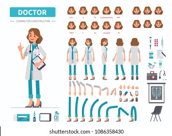 Doctor woman character constructor for animation. Front, side and back view. Flat  cartoon style vector illustration isolated on white background.