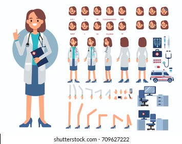 Doctor woman character constructor and medical objects for animation.  Set of various men's poses, faces, mouth, hands, legs. Flat style vector illustration isolated on white background.