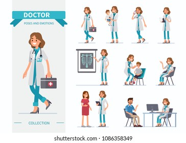 Doctor woman character set.  Flat  cartoon style vector illustration isolated on white background.