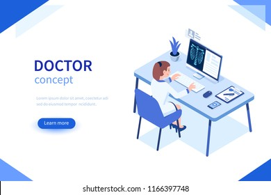 Doctor at work concept banner. Can use for web banner, infographics, hero images. Flat isometric vector illustration isolated on white background.