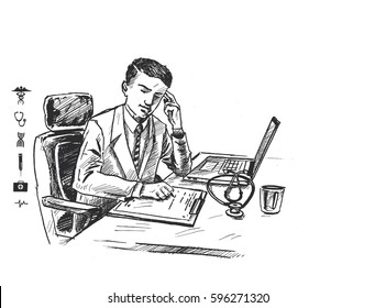 Doctor working on computer at his desk in medical office - Hand Drawn Sketch Vector illustration.