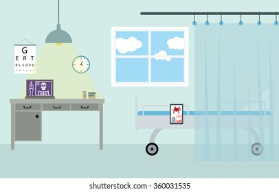 Doctor workplace in the hospital. Isolated vector illustration in flat design style