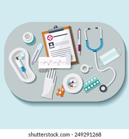Doctor workplace set in flat style. Healthcare and medical concept.  Vector illustration