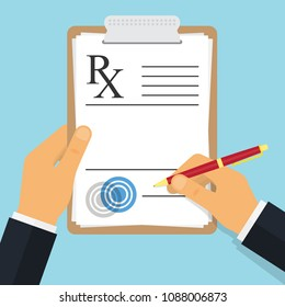 Doctor writing notes on a prescription pad. Empty medical prescription Rx form. Vector illustration