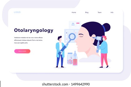 Doctore make ear examination concept. Idea of medical treatment and health care. Otolaryngology tool. Vector illustration in cartoon style