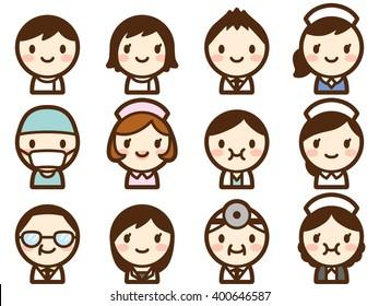 doctor&nurse face icon set