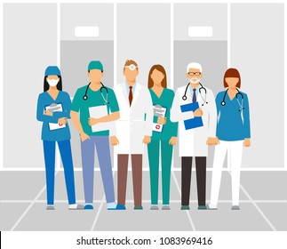 Doctors and assistant in a dressing gown with a stethoscope isolated on a clinic background. Doctor without a face. vector illustration