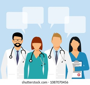Doctors and assistant in a dressing gown with a stethoscope and speak bubble isolated on a white background. Doctor without a face. vector illustration