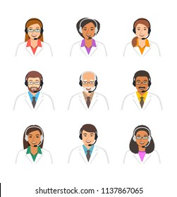 Doctors avatars with headsets. Medical call center operators . Vector cartoon icons. Customer care service online. Patients support assistants. Women and men of different ethnicity in white coats