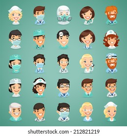 Doctors Cartoon Characters Icons Set. In the EPS file each element is grouped separately.