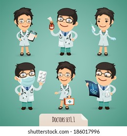 Doctors Cartoon Characters Set1.1 In the EPS file, each element is grouped separately.
