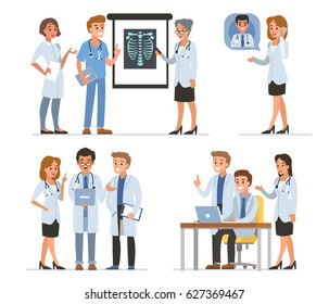 Doctors characters collection. Flat style vector illustration isolated on white background.