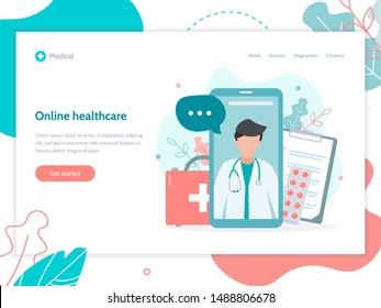 Doctor's consultation via smartphone. Online medical service. Web banner design template. Flat vector illustration.