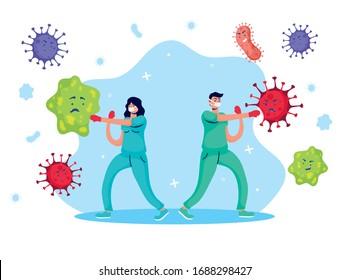 doctors couple fighting virus comic characters vector illustration design