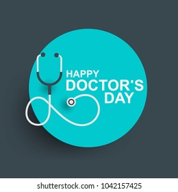 Doctors day greeting card design with stethoscope