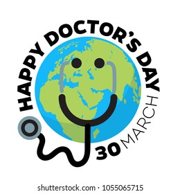 Doctor's day greeting card design with stethoscope like smiling face on cartoon Earth background.