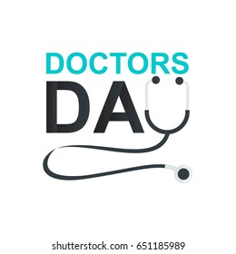 Doctor's day greeting card design with stethoscope icon vector illustration.