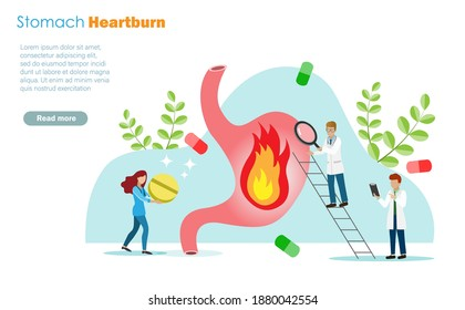 Doctors diagnosis patient heartburn stomache or gastric ulcers and healing with medical pills. Idea for medical care and health insurance concept.