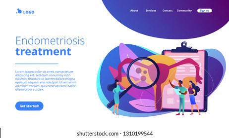 Doctors examine uterus with magnifier to treat endometriosis. Endometriosis, endometrium dysfunctionality, endometriosis treatment concept. Website vibrant violet landing web page template.
