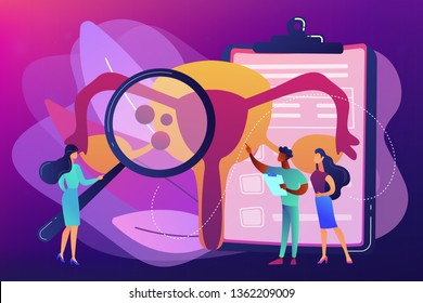 Doctors examine uterus with magnifier to treat endometriosis. Endometriosis, endometrium dysfunctionality, endometriosis treatment concept. Bright vibrant violet vector isolated illustration
