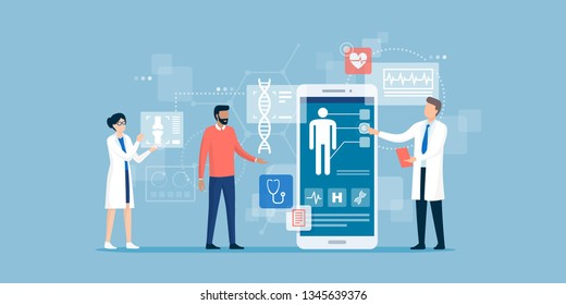 Doctors examining a patient using a medical app on a smartphone, online medical consultation and technology concept