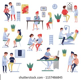 Doctors examining patients in the clinic set, oculist, therapist, gynecologist, taumatologist, dentist, ophthalmologist, medical treatment and healthcare concept vector Illustrations