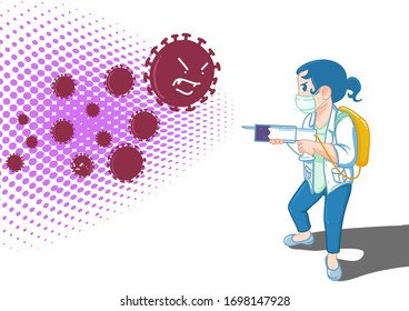 Doctors fight germs with a special syringe gun  background vector
