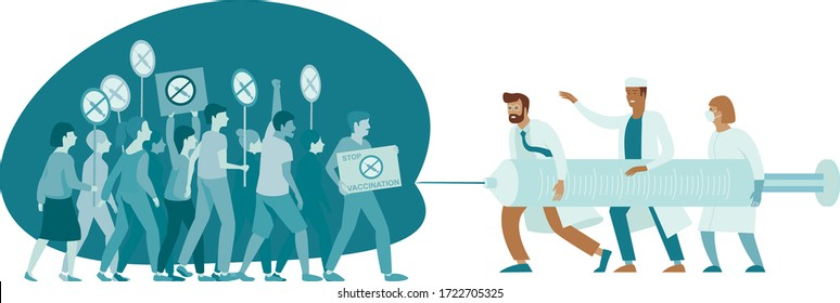 Doctors fighting against Anti Vaccination movement. Anti-Vaccine and Mandatory Immunization Protest Refusal. People Characters Rejecting Preventive Medicine. Flat vector concept Illustration
