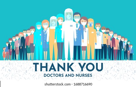 Doctors are up front in the fight against Coronavirus. Protecting people behind the back of medical staff. Thank you doctors and nurses working in the hospitals and fighting the coronavirus, Vector