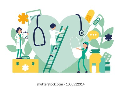 Doctors, general practitioners working. Professional clinic examination of giant heart, hospital equipment and tools. Medicine and healthcare concept. Vector illustration with faceless characters