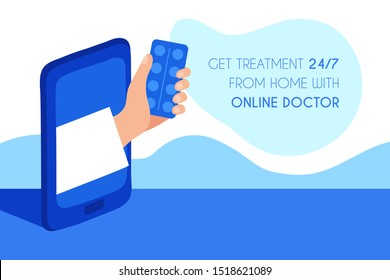 the doctor's hand gives the tablets through the smartphone screen. vector illustration in the style of hand drawn flat. Concept for online medicine and remote treatment and diagnosis. web banner