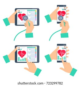 Doctor's hand holding stethoscope and checking heartbeat on the digital tablet screen. Medic online exams a patient by mobile phone. Tele, online, remote medicine concept. Vector flat illustration set