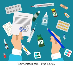 Doctor`s hands and medicines set colorful poster, vector illustration with arms holding medical prescription, tablets pills and squirt, medic tools