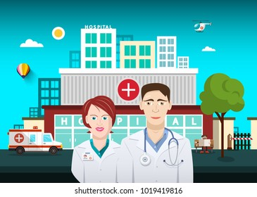 Doctors with Hospital Building on Background. Vector.