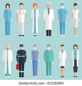 Doctors, hospital staff flat vector set
