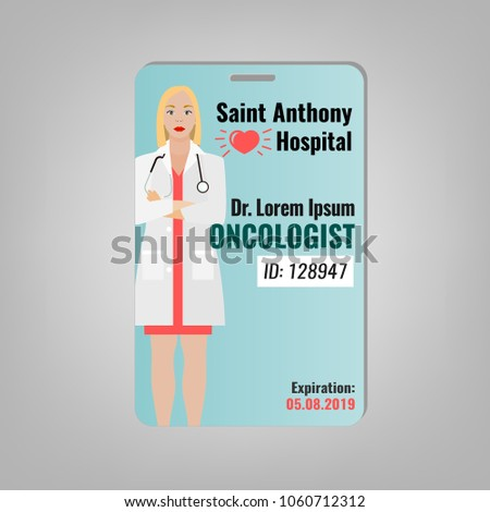 doctors id card oncologist image medical stock vector royalty free