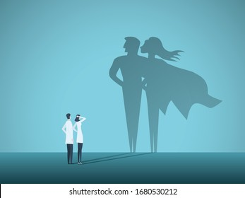 Doctors looking at superhero shadow on the wall. Hospital staff, nurses heroes fight coronavirus pandemic, epidemic. Strong, courage, brave life saving medical concept. Eps10 illustration.