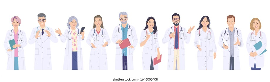 Doctors male and female characters set. Friendly and caring medical workers in white coats isolated on blank background. Doctor talking to patient. Healthcare service vector flat illustration.