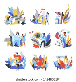 Doctors and medical equipment medicine isolated abstract icons vector traumatology and gynecology pharmacy and dentistry ophthalmology and cardiology otorhinolaryngology and surgery injection